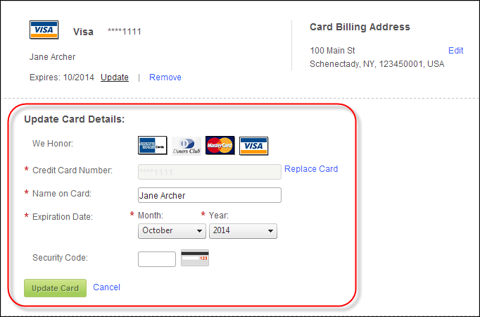 Saved Credit Cards Control Overview